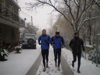 entreno bajo la nieve