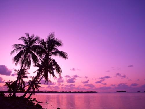 cromoterapia puesta de sol violeta